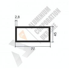 Алюминиевая труба прямоугольная <br> 77х45х2,8 - АН SX-76x44-992 1