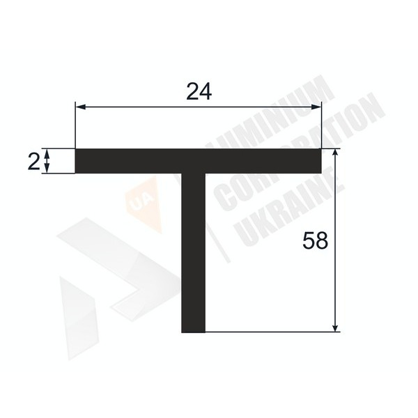 Т-образный профиль (Тавр алюминиевый) | 24х58х2 - АН 38-0017