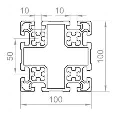 Алюминиевый станочный профиль <br> 100х100 - БП 00486 1