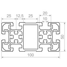 Алюминиевый станочный профиль 100х50 - АН 00497 1