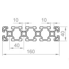 Алюминиевый станочный профиль 160х40 - БП 00484 1