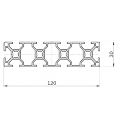 Алюминиевый станочный профиль <br> 120х30 - БП 00490 1