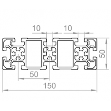 Алюминиевый станочный профиль  150х50 - БП 00482 1