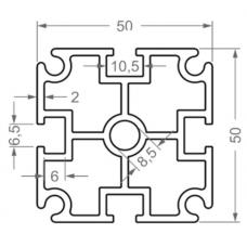 Алюминиевый станочный профиль 50х50 - БП 00480 1
