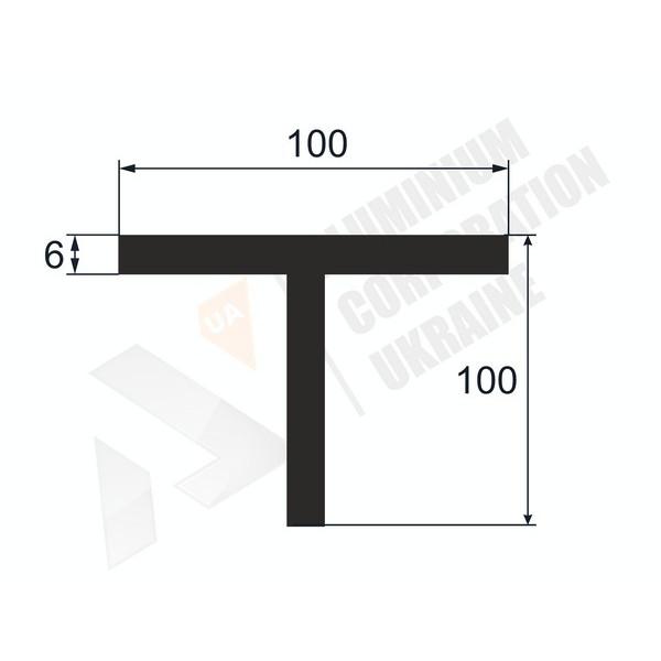 Т-образный профиль (Тавр алюминиевый) | 100х100х6 - АН 38-0145