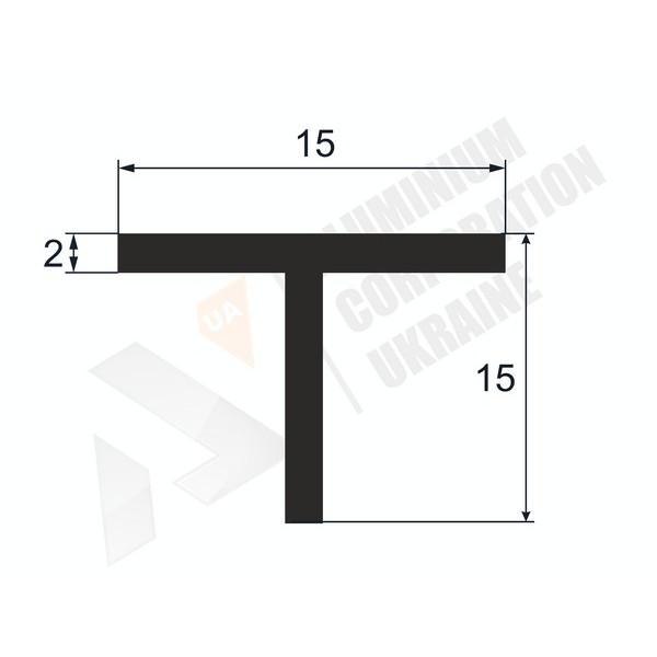 Т-образный профиль (Тавр алюминиевый) | 15х15х2 - АН 00534