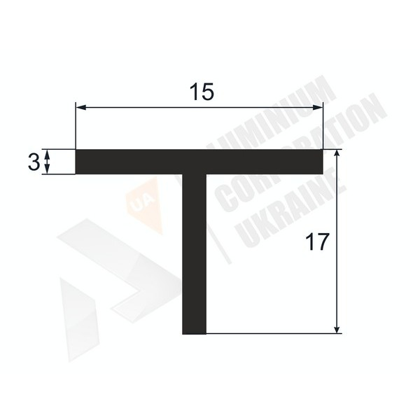 Т-образный профиль (Тавр алюминиевый) | 15х17х3 - БП 37-0006