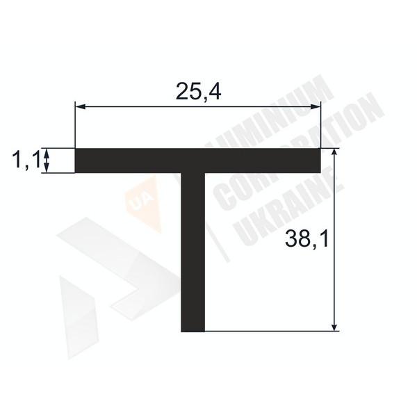 Т-образный профиль (Тавр алюминиевый) | 25,4х38,1х1,1 - АН 38-0032
