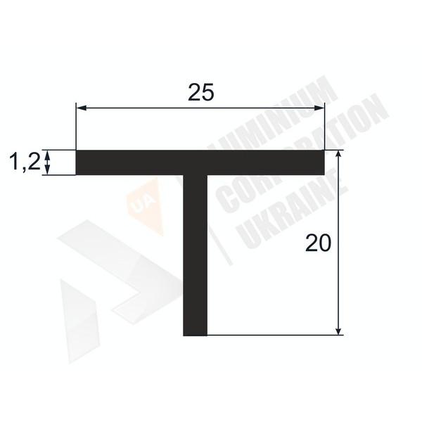 Т-образный профиль (Тавр алюминиевый) | 25х20х1,2 - БП БПО-3902-54