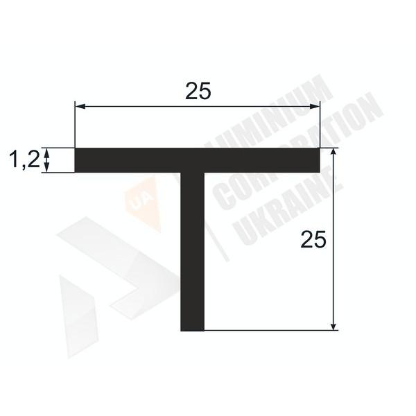 Т-образный профиль (Тавр алюминиевый) | 25х25х1,2 - БП АВА-1510-58