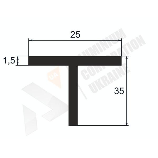 Т-образный профиль (Тавр алюминиевый) | 25х35х1,5 - БП A6168-72