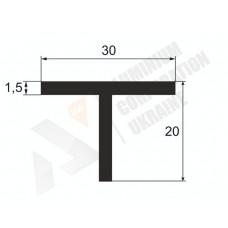Т-образный профиль (Тавр алюминиевый) <br> 30х20х1,5 - БП МАК -9999-118-86 1