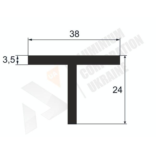 Т-образный профиль (Тавр алюминиевый)   38х24х3,5/5 - БП 37-0051