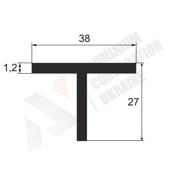 Т-образный профиль (Тавр алюминиевый) | 38х27х2,5/3 - АН 38-0052