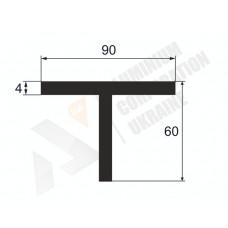Т-образный профиль (Тавр алюминиевый) <br> 90х60х4 - БП 3166-298 1