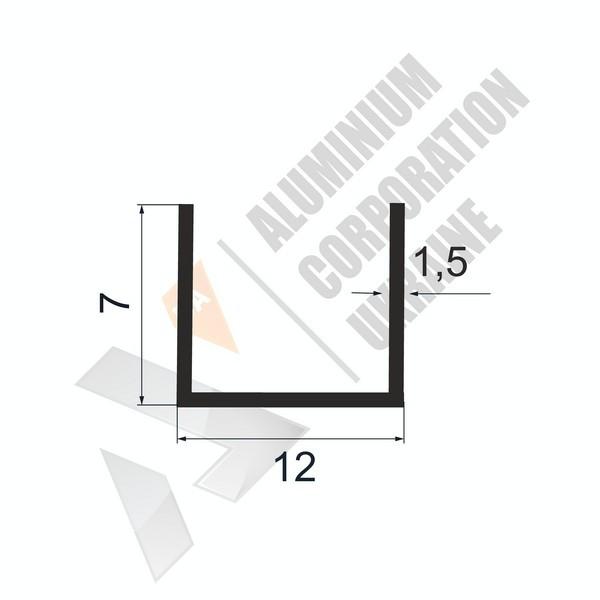 Алюминиевый швеллер П-образный профиль   12х7х1,5 (9мм) - БП 27-0044