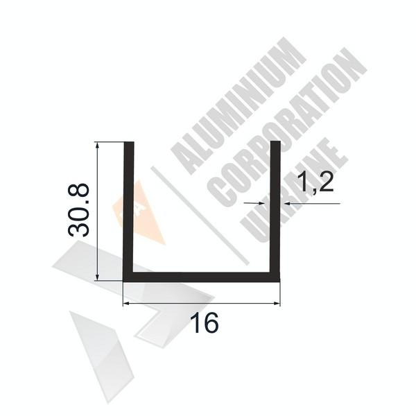 Алюминиевый швеллер П-образный профиль   16х30,8х1,4/1,2 - АН 28-0127