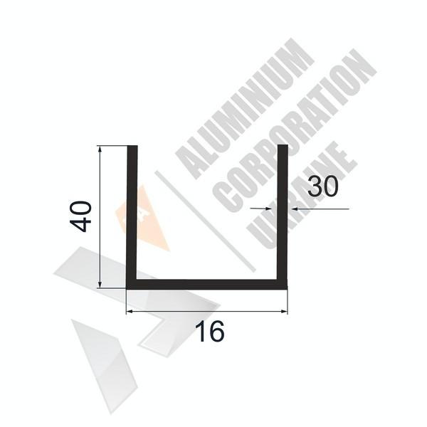 Алюминиевый швеллер П-образный профиль | 16х40х30/4 - БП 27-0129
