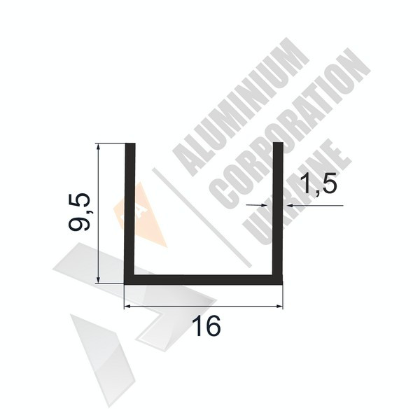 Алюминиевый швеллер П-образный профиль   16х9,5х1,5 - БП 27-0124