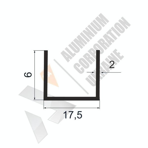 Алюминиевый швеллер П-образный профиль | 17,5х6х2 - БП 27-0140