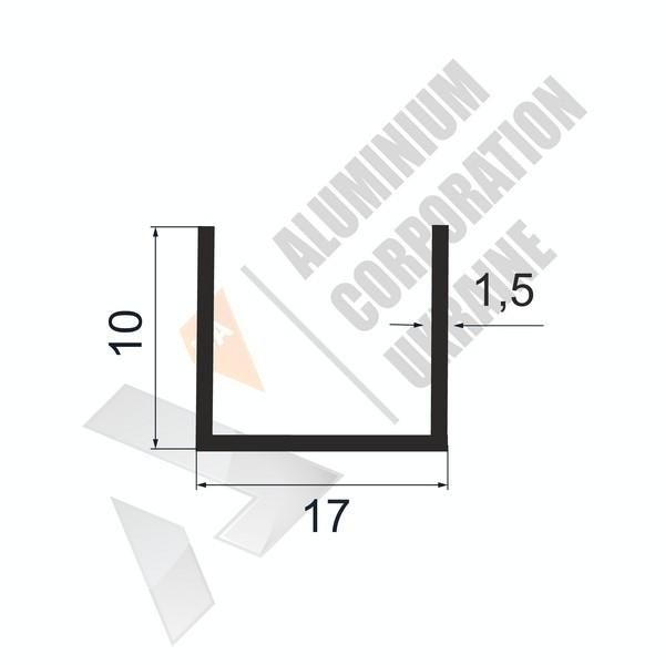 Алюминиевый швеллер П-образный профиль   17х10х1,5 - АН 28-0134