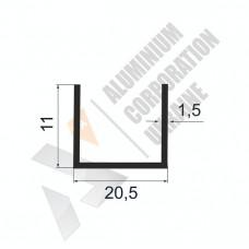 Алюминиевый швеллер П-образный профиль <br> 20,5х11х1,5 - АН БПО-2997-259 1