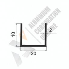 Алюминиевый швеллер П-образный профиль <br> 20х10х2 (16мм) - БП 00501 1