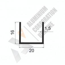 Алюминиевый швеллер П-образный профиль <br> 20х16х1,5 - АН АК-100024-199 1