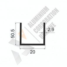Алюминиевый швеллер П-образный профиль <br> 20х50,5х2,9 - АН АК-100029-253 1