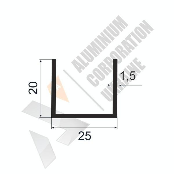 Алюминиевый швеллер П-образный профиль | 25х20х1,5 - БП 27-0242