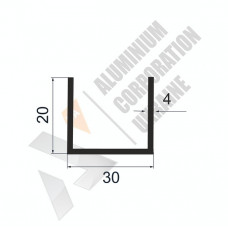 Алюминиевый швеллер П-образный профиль <br> 30х20х4 - БП A2023-394 1