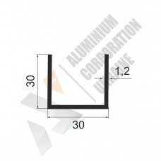 Алюминиевый швеллер П-образный профиль <br> 30х30х1,2 - АН АА-570-397 1
