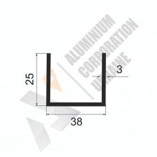 Алюминиевый швеллер П-образный профиль <br> 38х25х3 - БП АК-100063-498 1