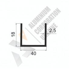 Алюминиевый швеллер П-образный профиль <br> 40х18х2,5 - АН БПО-0575-513 1