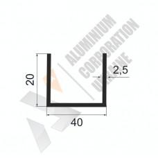 Алюминиевый швеллер П-образный профиль <br> 40х20х2,5 - АН БПО-1637-525 1