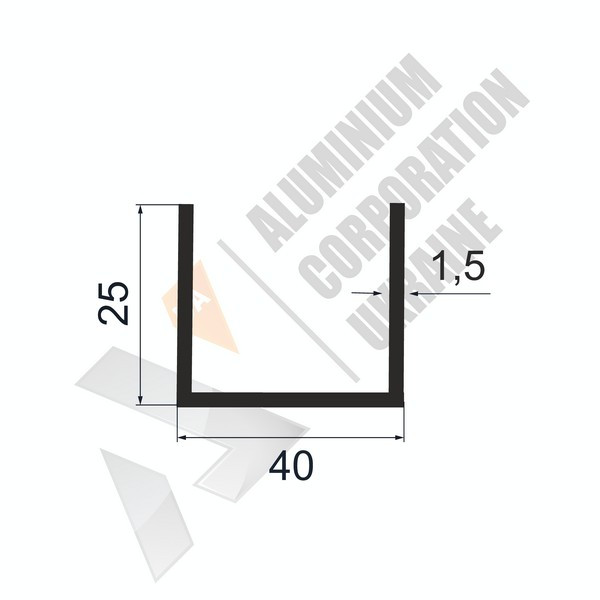 Алюминиевый швеллер П-образный профиль   40х25х1,5 - АН 28-0391