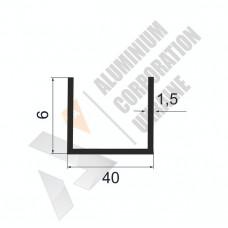 Алюминиевый швеллер П-образный профиль <br> 40х6х1,5 - АН 3346*-505 1