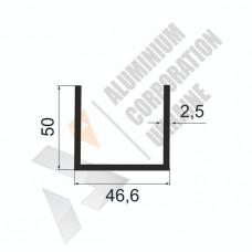 Алюминиевый швеллер П-образный профиль <br> 46,6х50х2,5 - БП АК-100067-596 1