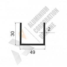 Алюминиевый швеллер П-образный профиль <br> 49х30х2 - АН АА-537-597 1