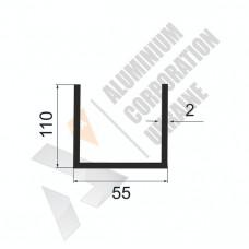 Алюминиевый швеллер П-образный профиль <br> 55х110х2 - БП БПЗ-1772-684 1