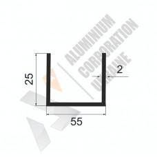 Алюминиевый швеллер П-образный профиль <br> 55х25х2 - АН БПО-1378-675 1