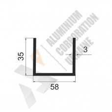 Алюминиевый швеллер П-образный профиль <br> 58х35х3 - АН A7621-689 1