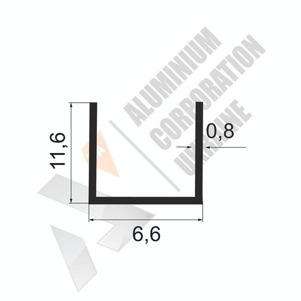 Алюминиевый швеллер П-образный профиль | 6,6х11,6х0,8 - БП 27-0004