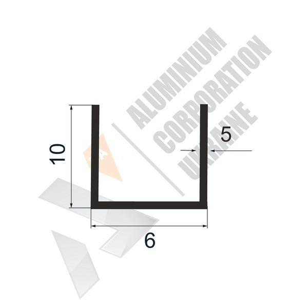 Алюминиевый швеллер П-образный профиль | 6х10х5/2 - АН 28-0003