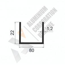 Алюминиевый швеллер П-образный профиль <br> 80х22х1,2 - БП АК-100087-804 1