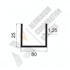 Алюминиевый швеллер П-образный профиль <br> 80х25х1,25 - БП АК-100088-806 1
