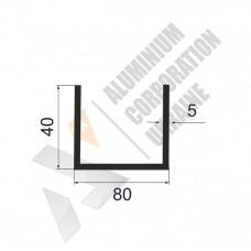 Алюминиевый швеллер П-образный профиль <br> 80х40х5 - АН A2809-831 1