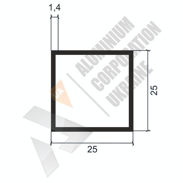 Алюминиевая труба квадратная | 25х25х1,4 - БП A6076-85