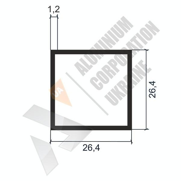 Алюминиевая труба квадратная   26,4х26,4х1,2 - БП 03-0107