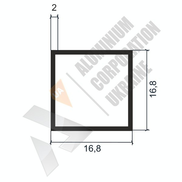 Алюминиевая труба квадратная | 16,8х16,8х2 - БП 03-0035